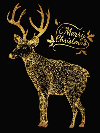 Merry Christmas from vector.Reindeer gold on black background.Merry Christmas in 2016.Reindeer tangle for coloring. Illustration