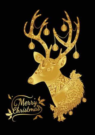 tangle: Merry Christmas from vector.Reindeer gold on black background.Merry Christmas in 2016.Reindeer tangle for coloring. Illustration