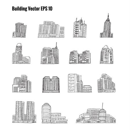 building sketch: Building sketch by hand drawing.Building vector set on white background.