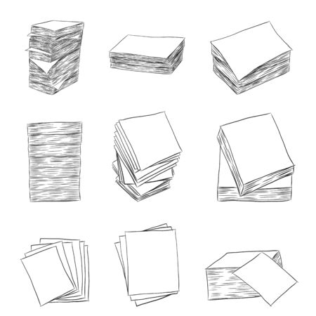 paper stack: Paper stack vector on white background.Paper stack set by hand drawing.