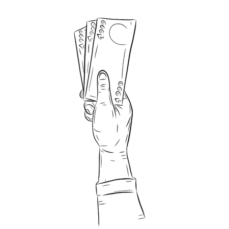 money: Hand holding money vector on white background.Hand with money sketch.
