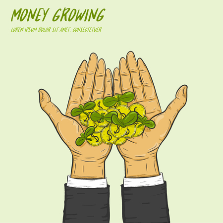 cash crop: Cool plant growing from coins in a hand.A businessman can make money grow.
