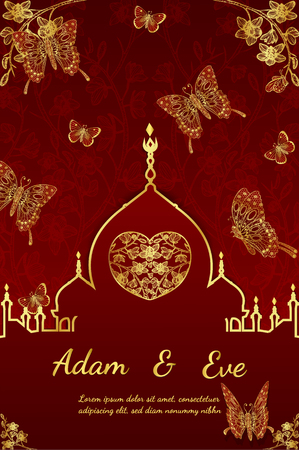 floral: Wedding invitation card layout with golden butterfly design on red background