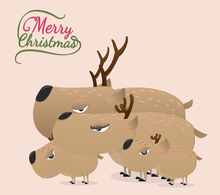 Brown reindeer on vintage background.Reindeer vector paper cut style.Reindeer family in christmas. Ilustração