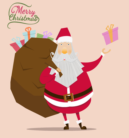 Santa claus vector on brown back ground.Santa claus with gift bag in christmas day.Christmas vintage card and happy new year.