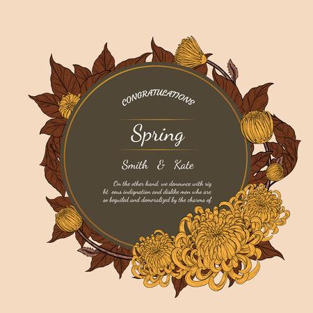 Chrysanthemum vintage card on brown background.Chrysanthemum flower by hand drawing.Floral vintage highly detailed in line art style.
