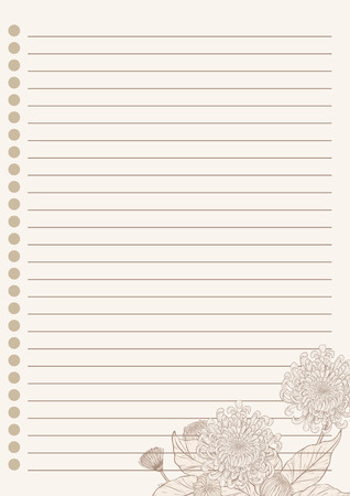 Vintage letter paper from vector.Blank worksheet excercise book.