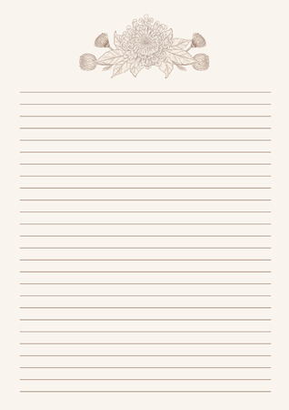 Vintage letter paper from vector.Blank worksheet excercise book.