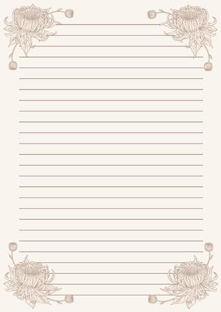 Vintage letter paper from vector.Blank worksheet excercise book. 向量圖像