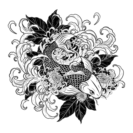 c2966c13b Koi fish and chrysanthemum tattoo by hand drawing.Tattoo art highly  detailed in line art
