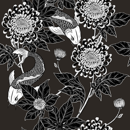 Koi fish and chrysanthemum pattern by hand drawing.Tattoo art highly detailed in line art style.Fish and flower seamless pattern on batik cloth.