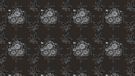 Koi fish and chrysanthemum pattern by hand drawing.Tattoo art highly detailed in line art style.Fish and flower pattern on batik cloth. Stock Photo