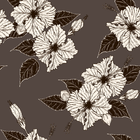 Hibiscus flower pattern by hand drawing.Tattoo art highly detailed in line art style. Flower seamless pattern on batik cloth. Иллюстрация