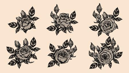 Rosa vector de encaje a mano dibujo. Hermosa flor sobre fondo marrón. Arte de encaje rosa muy detallado en estilo de arte lineal. Tatuaje de flor en papel vintage.