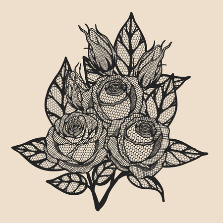 Rose vector lace by hand drawing.Beautiful flower on brown background.Rose lace art highly detailed in line art style.Flower tattoo on vintage paper. Stock Illustratie