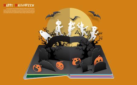 Halloween pop up book from vector