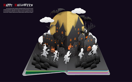 Halloween pop up book from vector