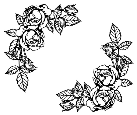Rose ornament vector set by hand drawing.Beautiful flower on brown background.Rose art highly detailed in line art style