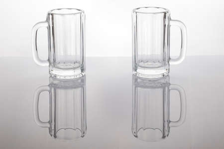 Empty beer mugs. Clean glass cups.