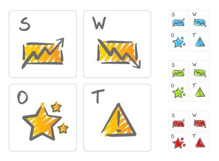 risico analyse: SWOT-analyse iconen Stock Illustratie