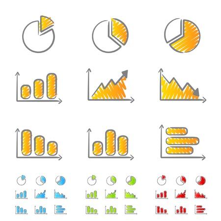 Wykresy ikony bazgrołów Ilustracje wektorowe