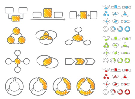 summary: Diagrams scribble icons Illustration