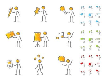 Cifras de personas con atributos garabato Ilustración de vector