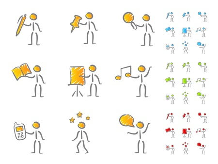 man presenting: People figures with attributes scribble