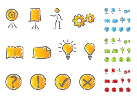 exclamation icon: Presentation icons scribble Illustration