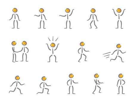 walking on hands: People figures scribble Illustration