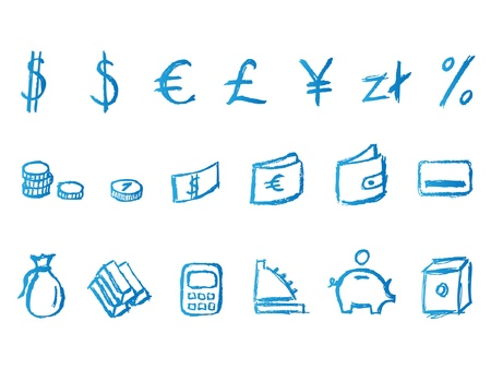 Handwritten finance icons Vector