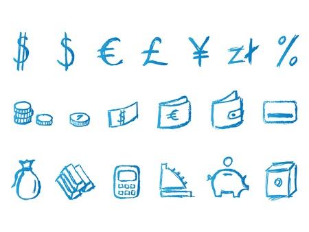 Handwritten finance icons Vector