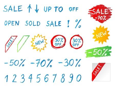 distinction: Handwritten sale icons