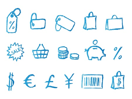 hand cart: Manuscrito iconos de compras