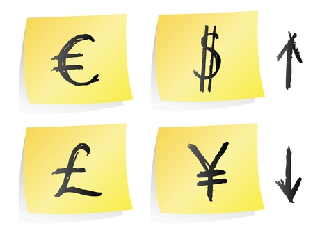 Currency on post-it Vector