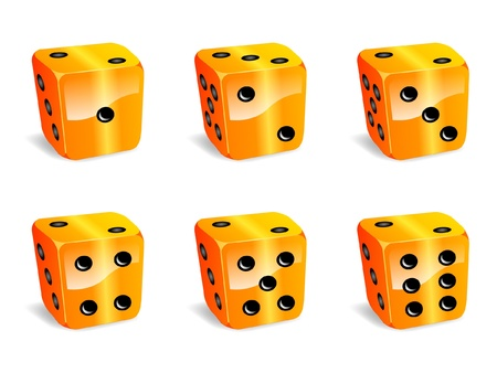 3d dimensional: Dices yellow icons