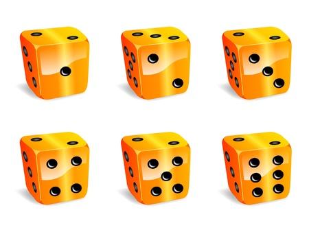 kostky: Kostky žluté ikony Ilustrace