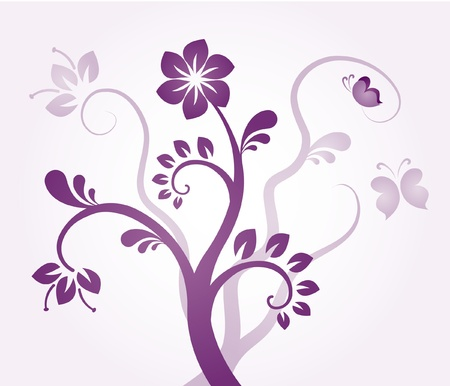 butterflies and flowers: Floral ornament - violet flowers Illustration