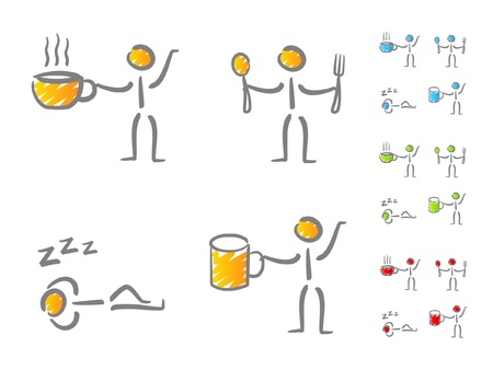 man drinking water: People lifestyle icons Illustration