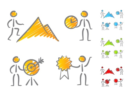 achieve goal: People achievements icons scribble