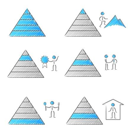 Teoría de la pirámide de Maslow de necesidades Ilustración de vector