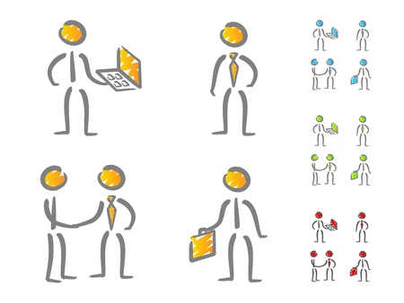 communication metaphor: Business people icons scribble