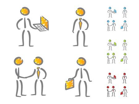 metafoor: Mensen uit het bedrijfsleven iconen krabbel