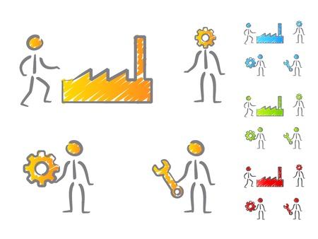 ingenieurs: Ingenieurs mensen pictogrammen scribble Stock Illustratie