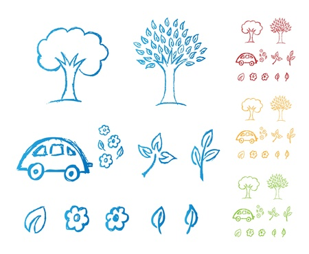 Hand drawn Eco icons Vector