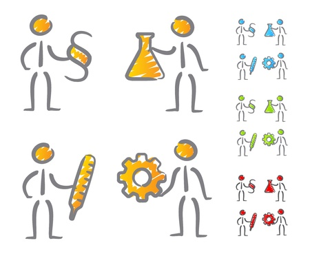People professions icons scribble Vector