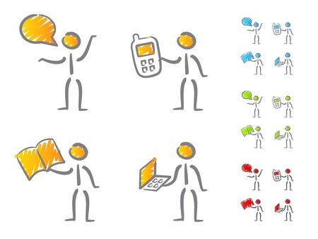 La gente de comunicación garabatos iconos Ilustración de vector