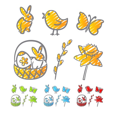Easter icons scribble Vector
