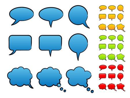 remplissage: Encre discours bulles avec un remplissage solide Illustration