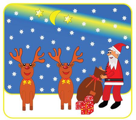 nad: Vector christmas illustration of santa claus nad reindeers. Illustration